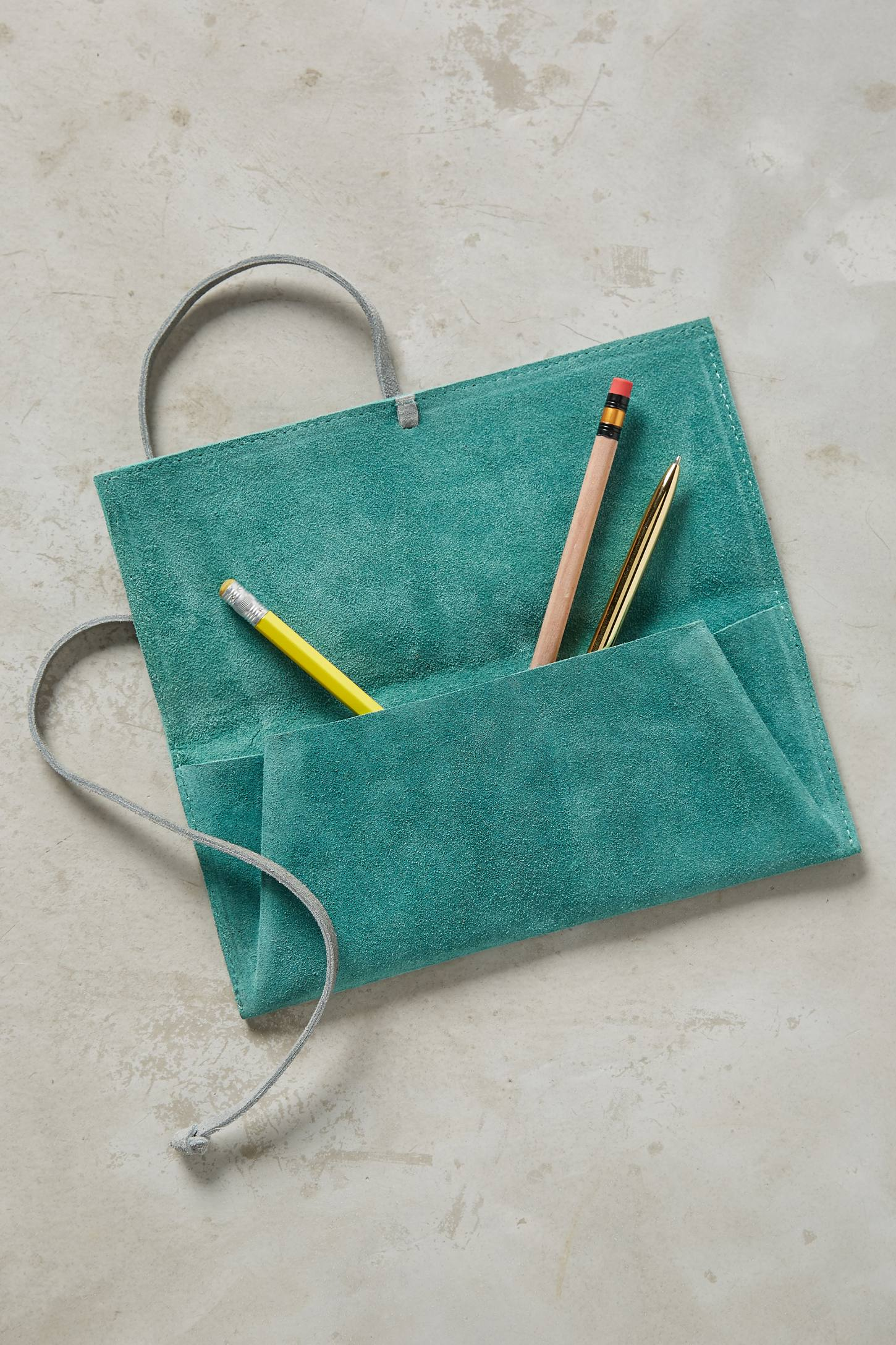 Slide View: 3: Embossed Suede Pencil Pouch