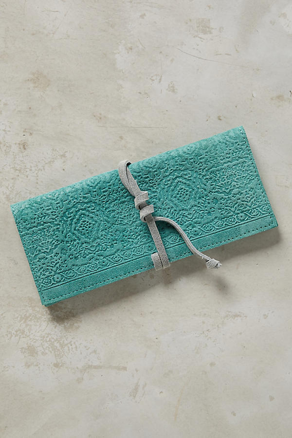 Slide View: 1: Embossed Suede Pencil Pouch