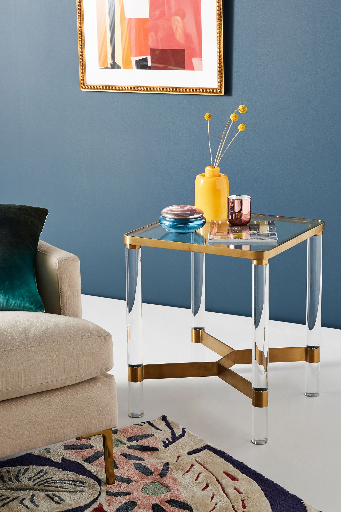 oscarine lucite end table  anthropologie -