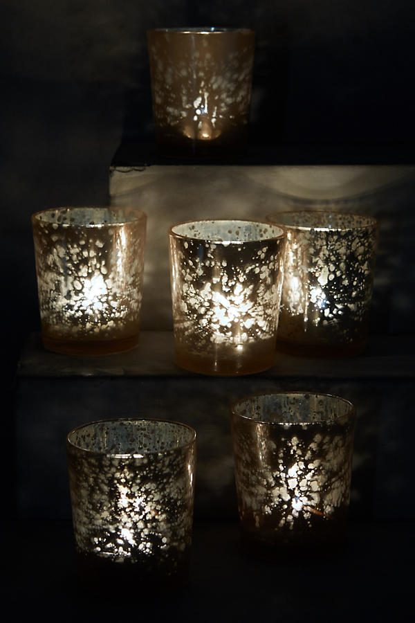 Slide View: 2: Dappled Glass Votive Set