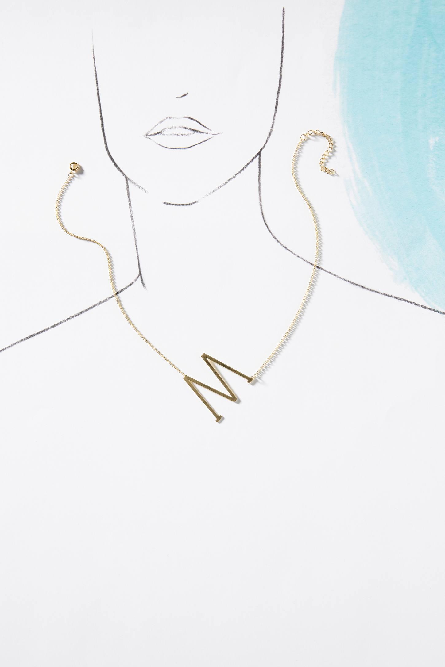 slide view 2 monogram pendant necklace