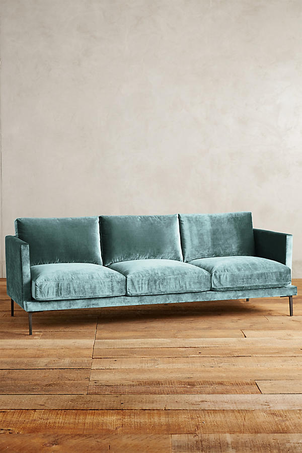Slide View: 1: Slub Velvet Linde Sofa