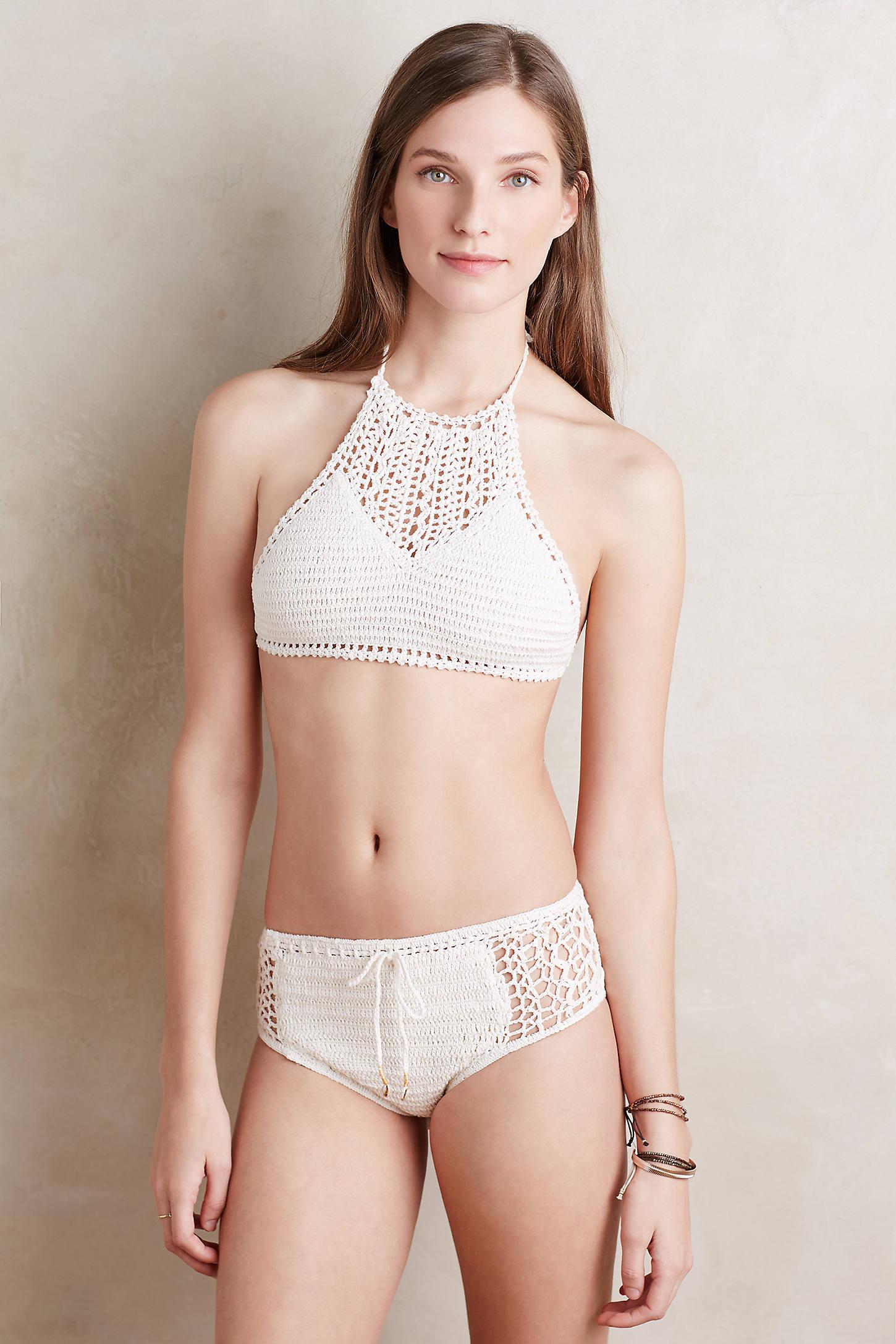 High-Neck Crochet Halter Bikini Top
