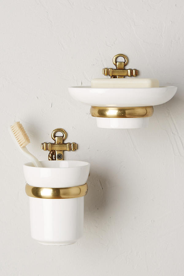 Brass Anchor Toothbrush Holder