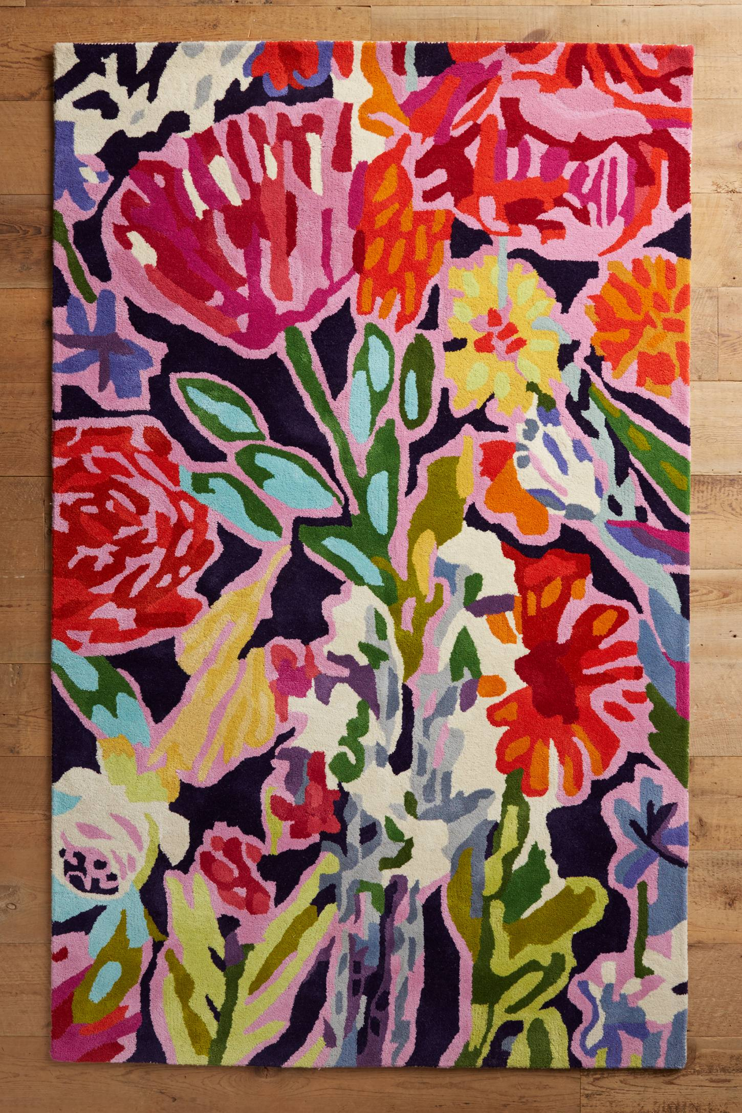 Deconstructed bouquet rug anthropologie for Bright floral area rugs