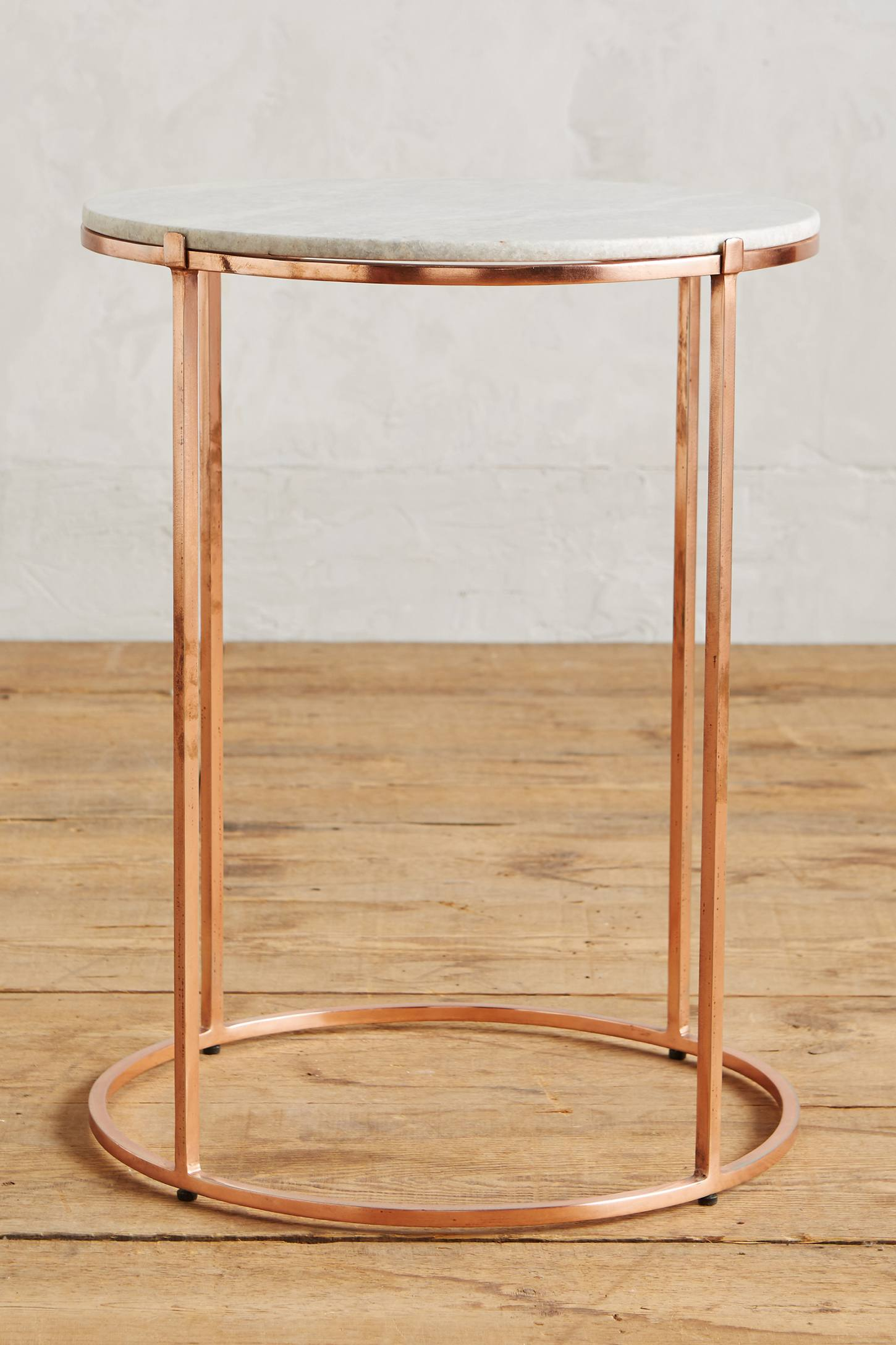 Leavenworth marble side table anthropologie for Round gold side table