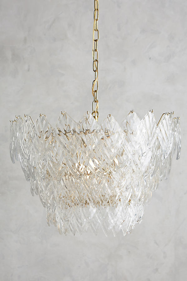 Glass Frond Chandelier - Clear