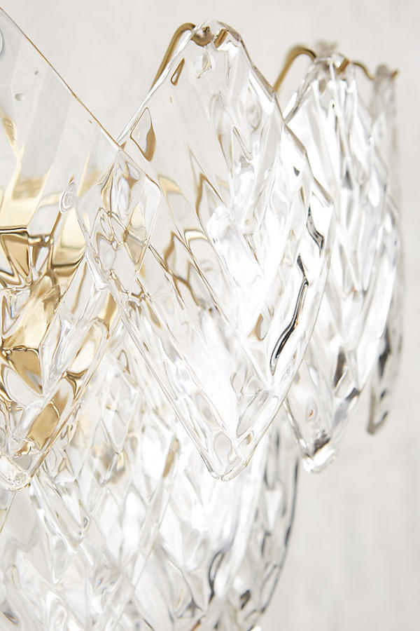 Slide View: 2: Glass Frond Sconce
