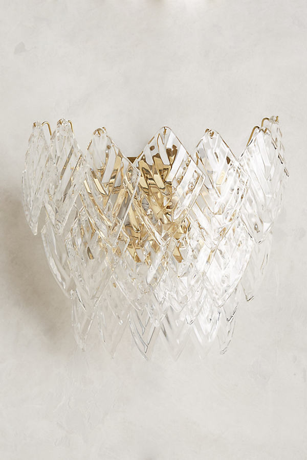 Glass Frond Sconce - Clear
