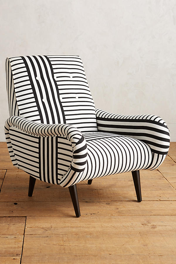 Slide View: 1: Banded Stripe Losange Chair