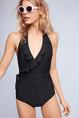 Slide View: 2: Ruffled Halter One-Piece Swimsuit
