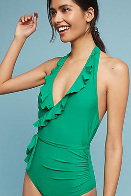 Slide View: 1: Ruffled Halter One-Piece Swimsuit