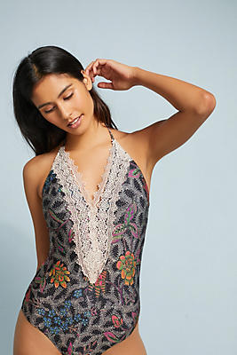 Slide View: 1: Lace-Front One-Piece Swimsuit
