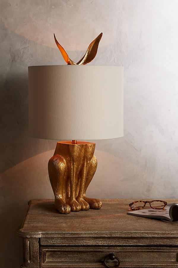 Slide View: 2: Gilded Hare Lamp Ensemble