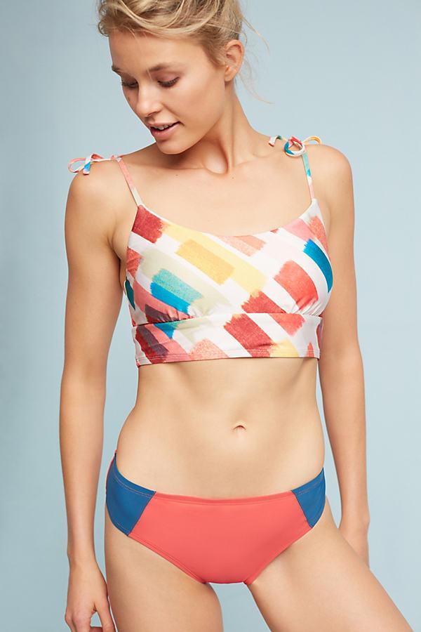 Colourblock Bikini Bottoms - Red Motif, Size M