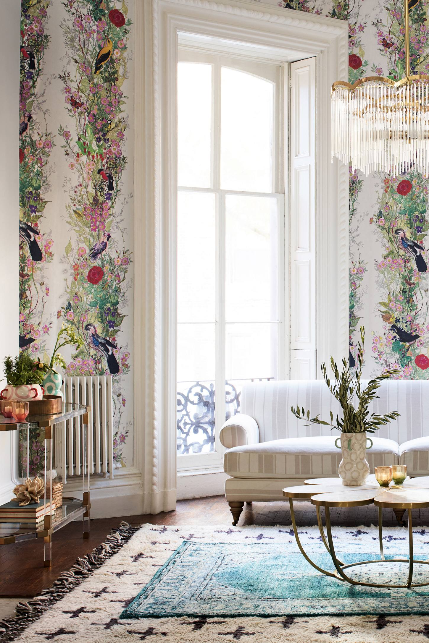 Anthropologie living room - Slide View 4 Bird Sanctuary Wallpaper
