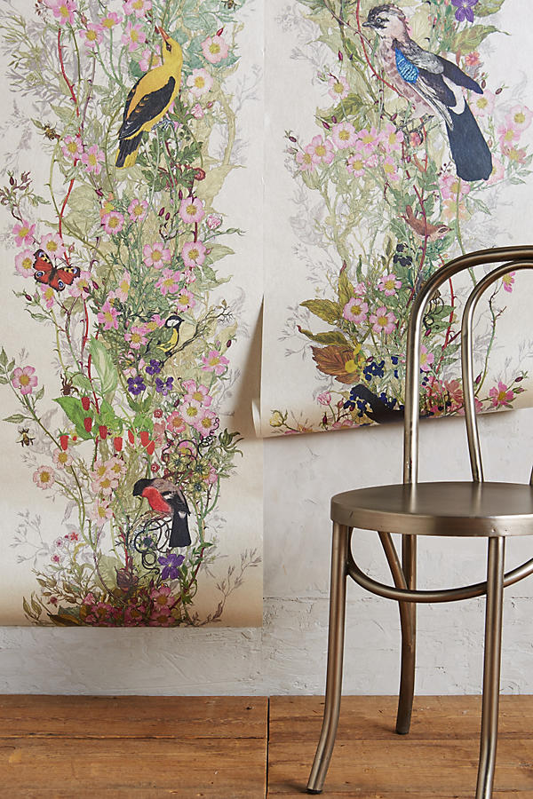 Bird sanctuary wallpaper anthropologie for Anthropologie mural