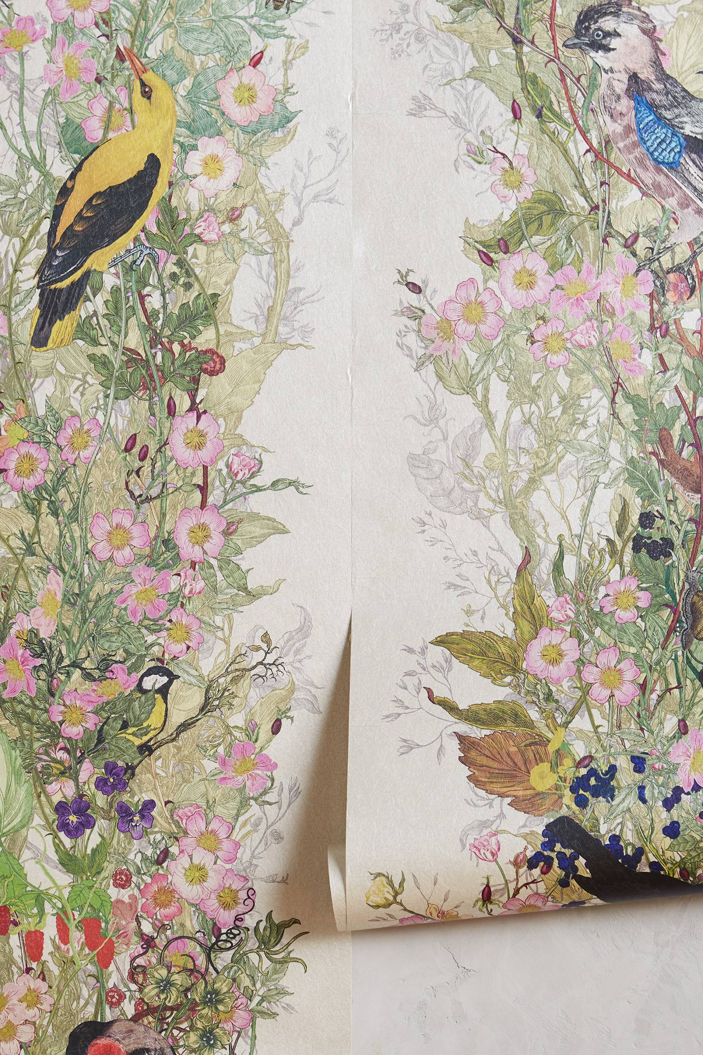 Bird sanctuary wallpaper anthropologie for Anthropologie wallpaper mural