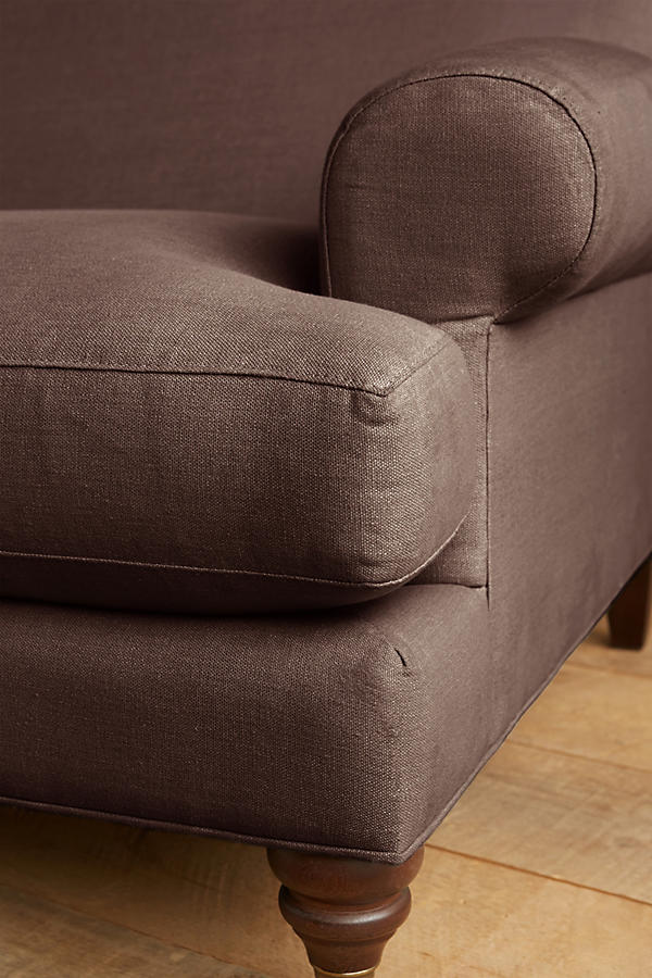 Belgian Linen Willoughby Settee, Hickory