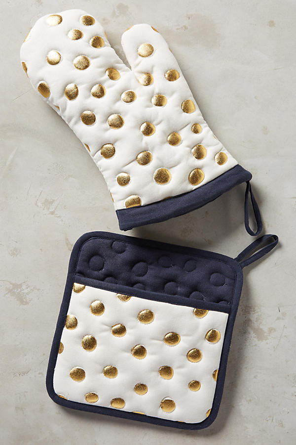 Slide View: 1: Gold Polka Dotted Pot Holder