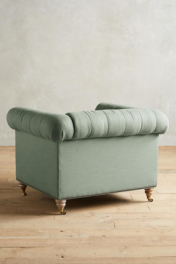 Slide View: 2: Belgian Linen Lyre Chesterfield Armchair, Wilcox