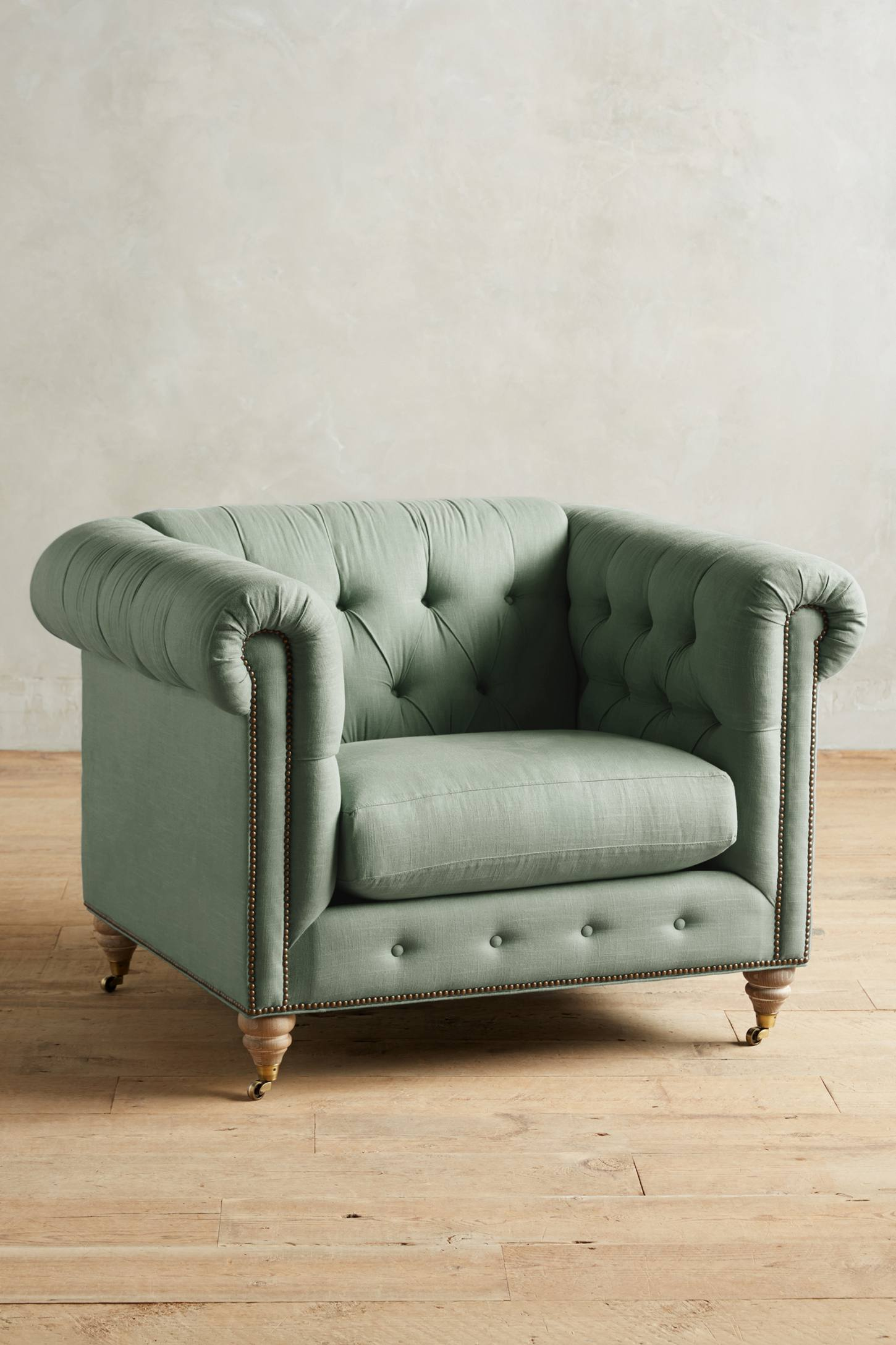 Slide View: 1: Belgian Linen Lyre Chesterfield Armchair, Wilcox