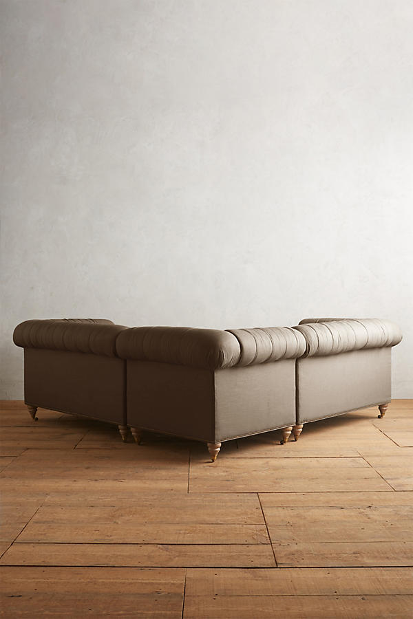 Slide View: 2: Belgian Linen Lyre Chesterfield Sectional, Wilcox