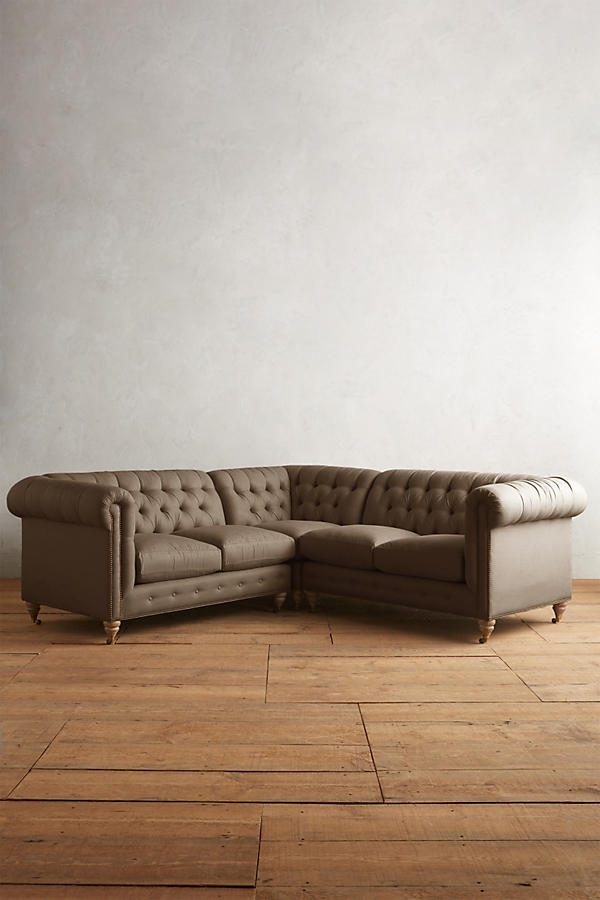 Slide View: 1: Belgian Linen Lyre Chesterfield Sectional, Wilcox