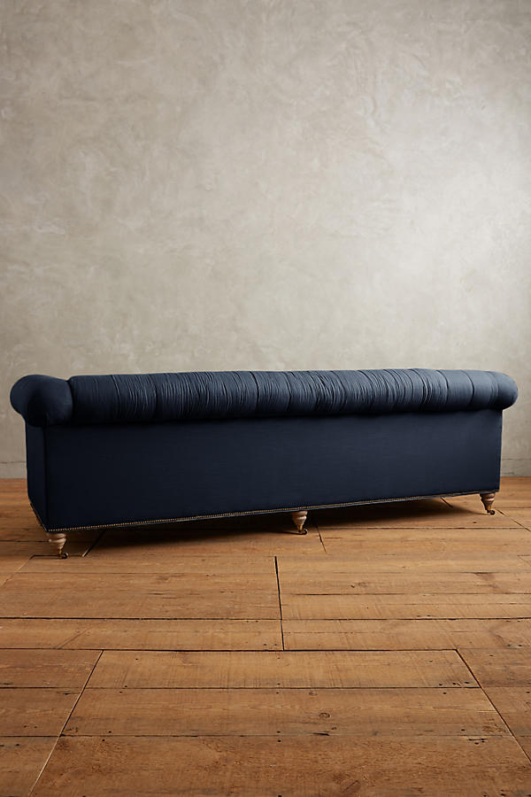 Slide View: 2: Belgian Linen Lyre Chesterfield Grand Sofa, Wilcox