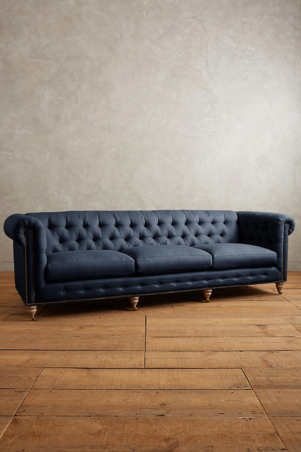 Slide View: 1: Belgian Linen Lyre Chesterfield Grand Sofa, Wilcox