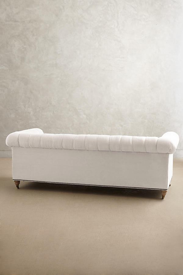 Slide View: 2: Belgian Linen Lyre Chesterfield Sofa, Wilcox