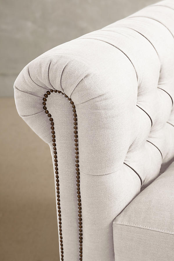 Slide View: 3: Belgian Linen Lyre Chesterfield Sofa, Wilcox