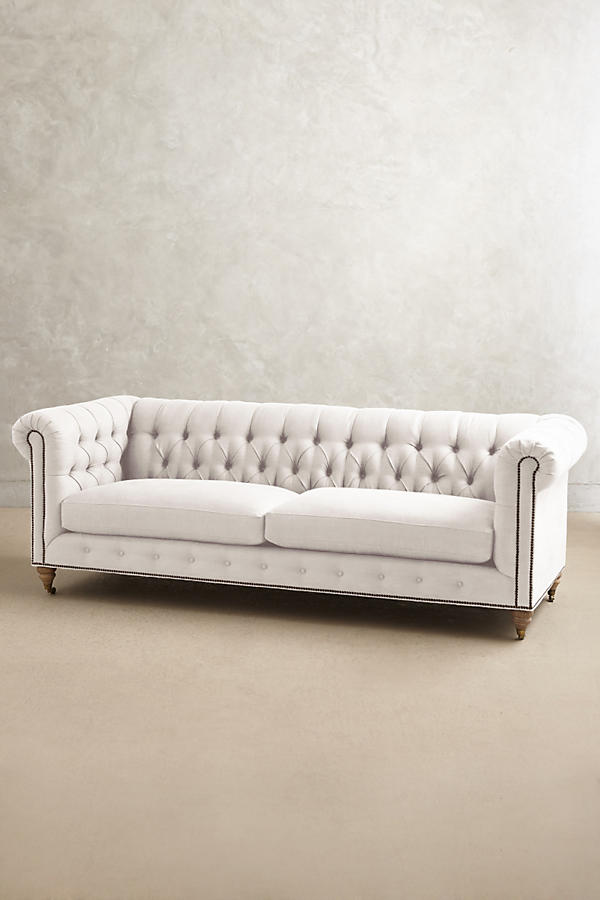 Slide View: 1: Belgian Linen Lyre Chesterfield Sofa, Wilcox