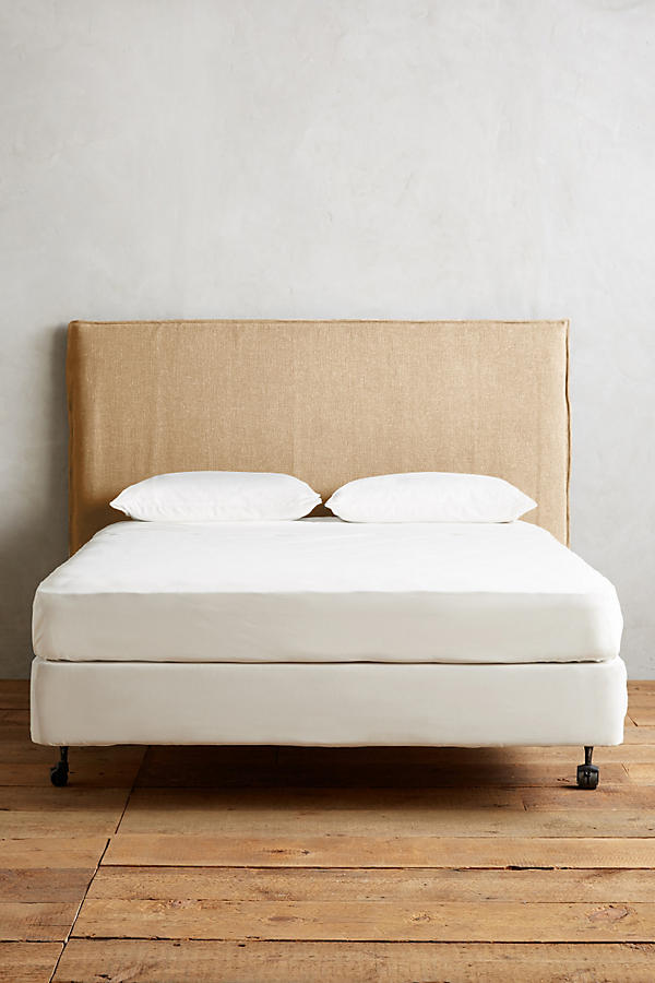 Slide View: 2: Basketweave Linen Carlier Slipcover Headboard