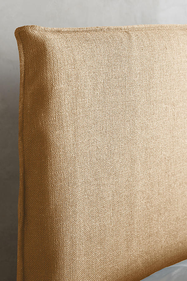 Slide View: 3: Basketweave Linen Carlier Slipcover Headboard