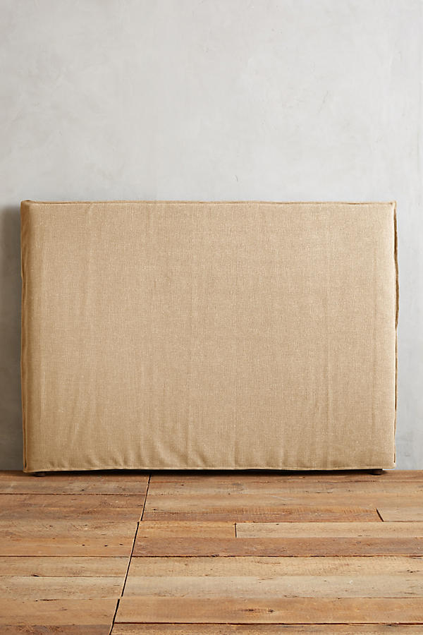 Slide View: 4: Basketweave Linen Carlier Slipcover Headboard