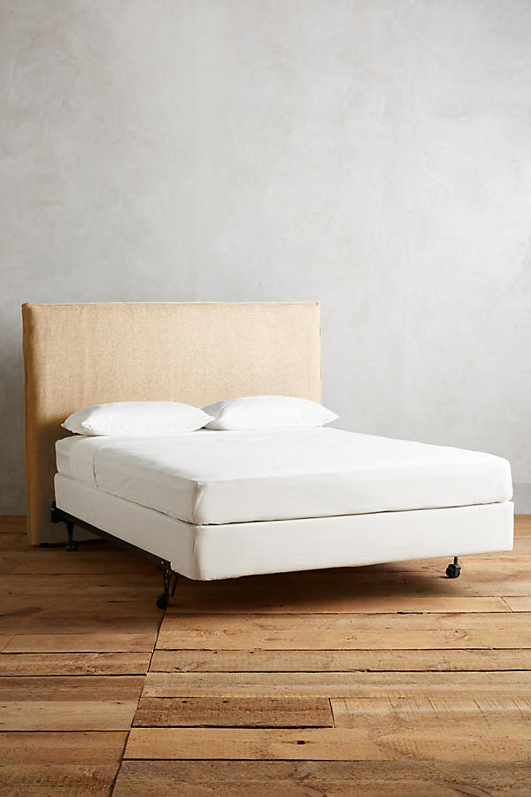 Slide View: 1: Basketweave Linen Carlier Slipcover Headboard