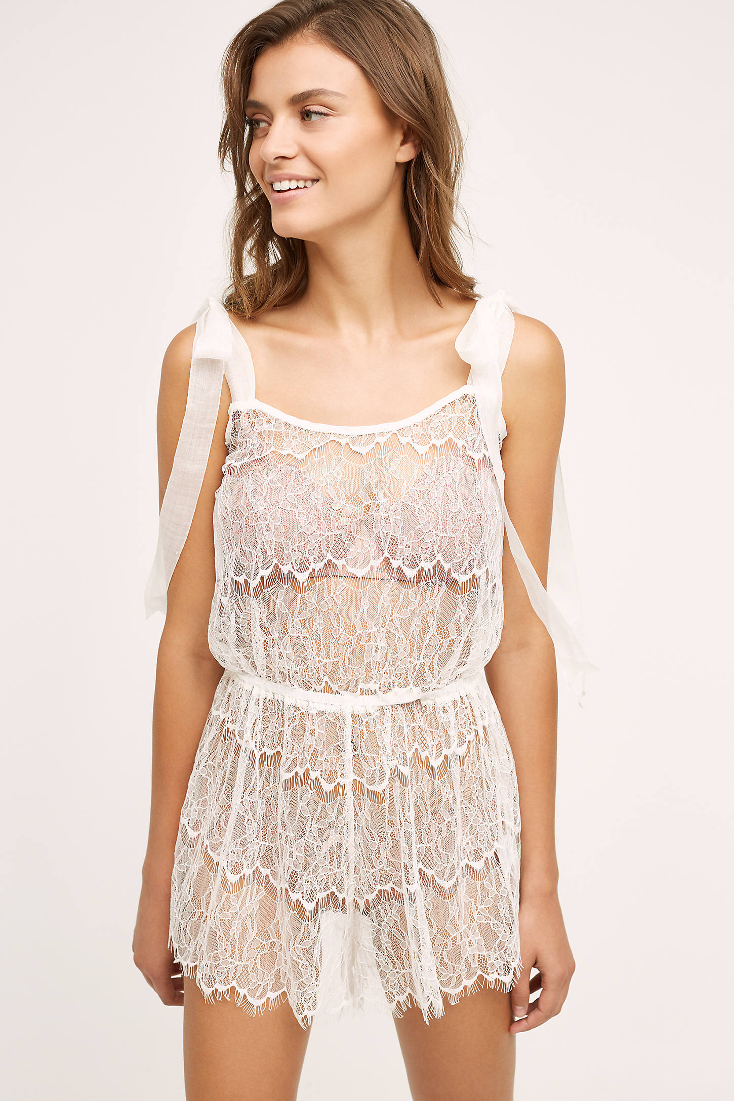 Twig & Honey Ruffled Lace Romper