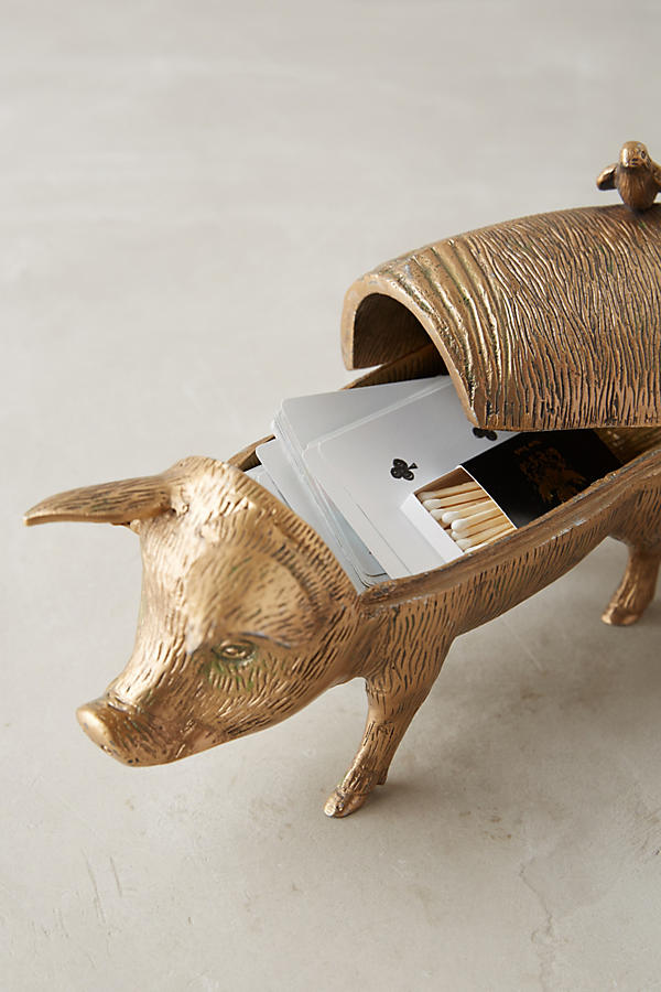 Slide View: 3: Patinaed Pig Decorative Object