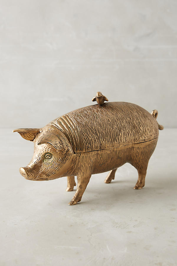 Slide View: 1: Patinaed Pig Decorative Object