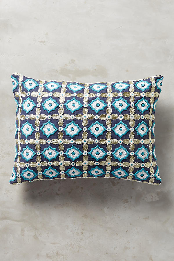 Tile-Embroidered Pillow