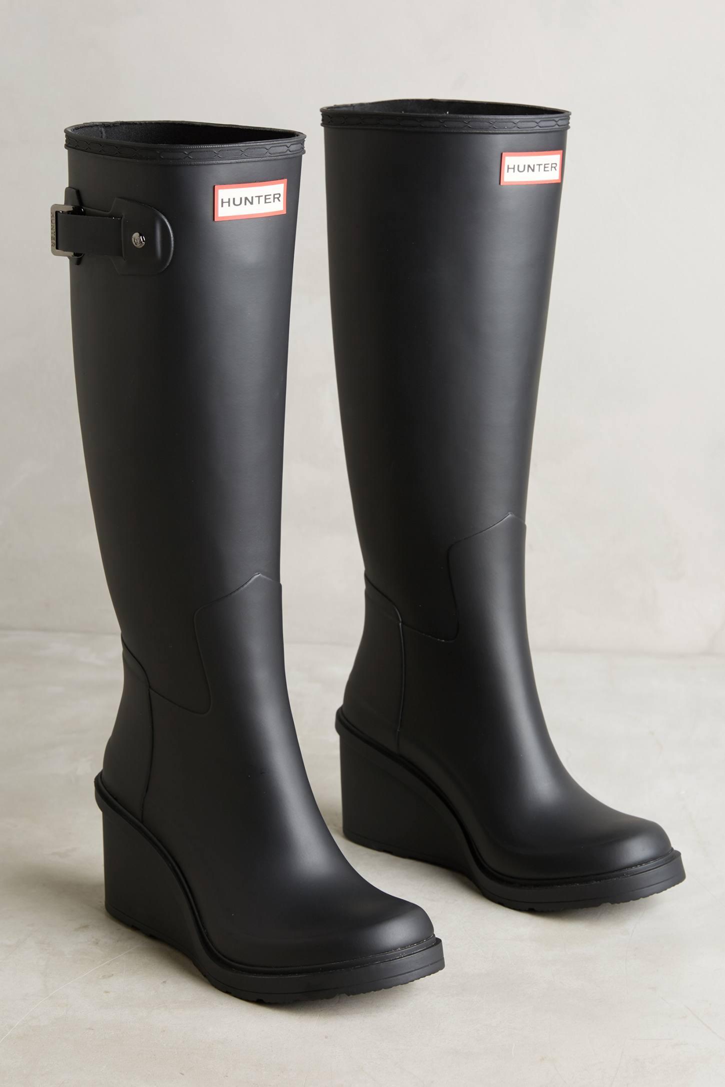Hunter Tall Wedge Rain Boots   Anthropologie