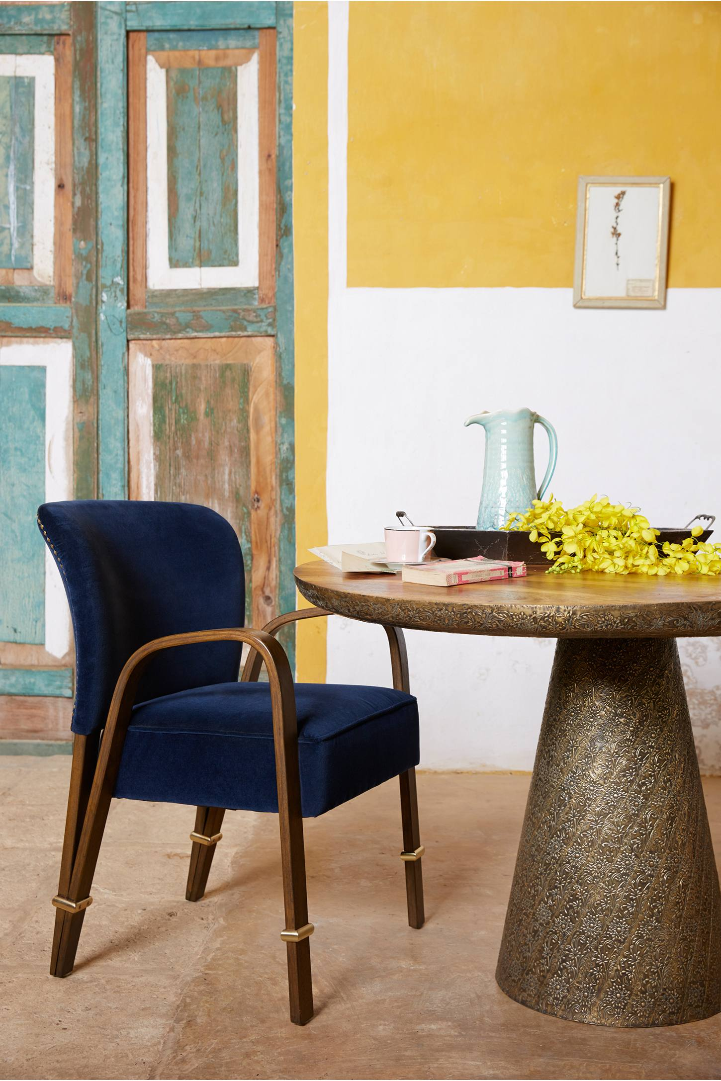 Slide View: 7: Hand-Embossed Floral Dining Table