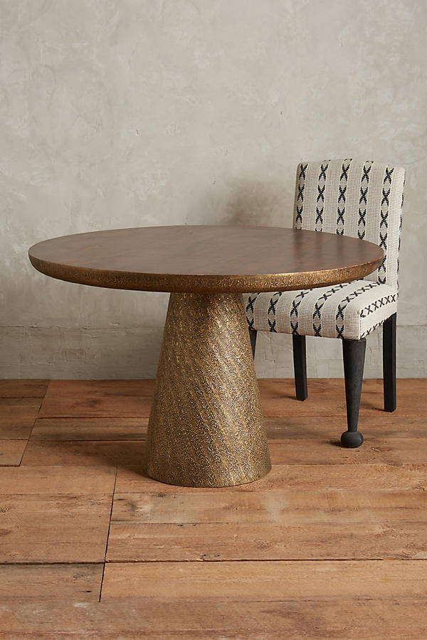 Slide View: 2: Hand-Embossed Floral Dining Table