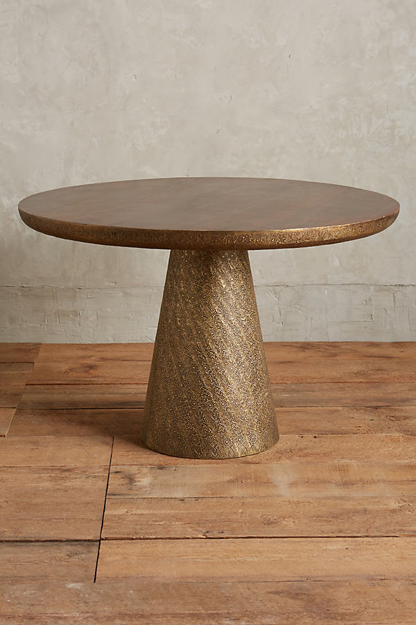 Hand-Embossed Floral Dining Table - Gold