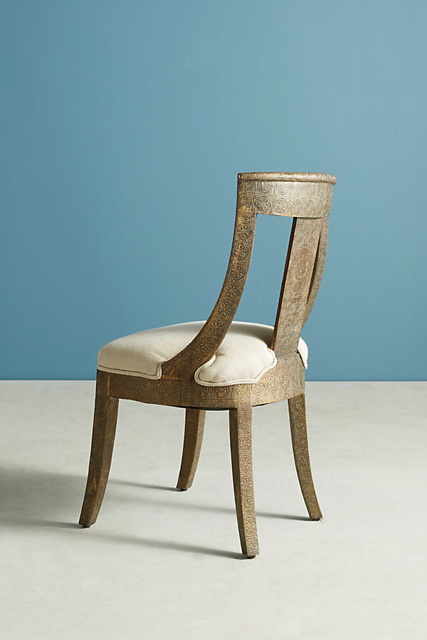 Hand-Embossed Dining Chair - Gold