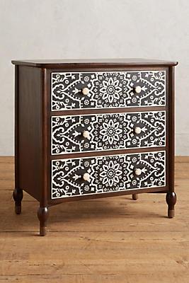 Slide View: 1: Tapestry Inlay Three-Drawer Dresser