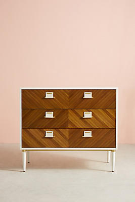 Slide View: 1: Geo-Marquetry Three-Drawer Dresser