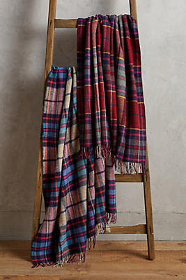 Slide View: 2: Avoca Plaid Lambswool Throw Blanket