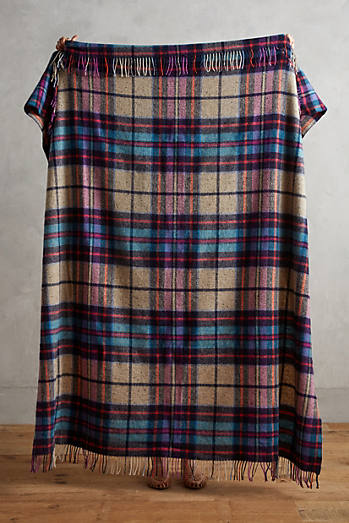 Avoca Plaid Lambswool Throw Blanket